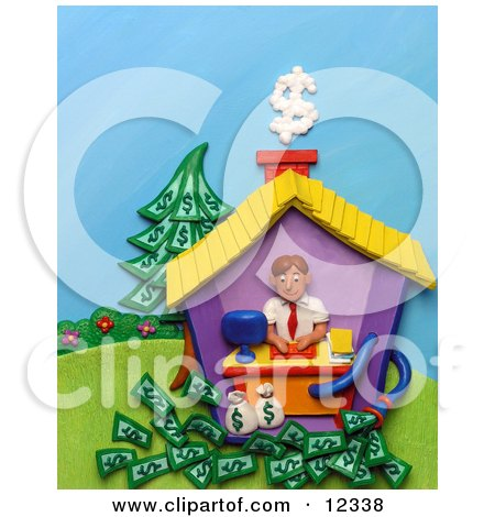 Clay Sculpture Clipart Man Working In His Home Office Royalty Free 3d Illustration