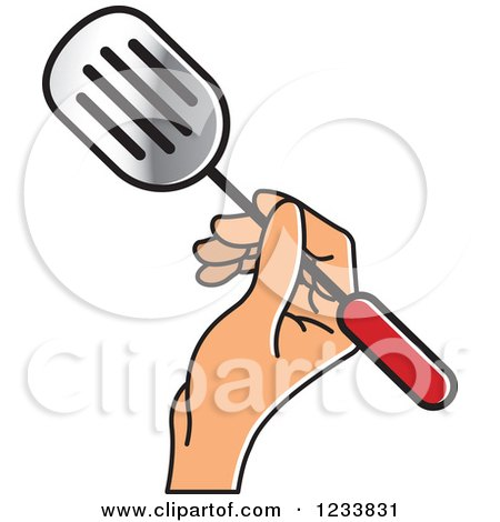 Clipart of a Hand Holding a Leak Shovel Spatula - Royalty Free Vector Illustration by Lal Perera
