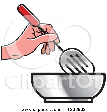 Clipart of a Hand Holding a Leak Shovel Spatula over a Bowl - Royalty Free Vector Illustration by Lal Perera