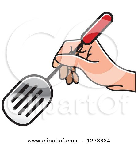 Clipart of a Hand Holding a Leak Shovel Spatula 2 - Royalty Free Vector Illustration by Lal Perera