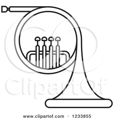 Clipart Of A Black And White French Horn