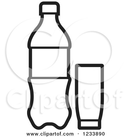 clipart of a black and white soda bottle and cups royalty free rh clipartof com soda bottle clipart black and white plastic soda bottle clipart