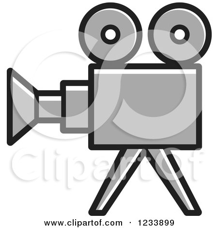 Clipart of a Gray Movie Camera - Royalty Free Vector Illustration by Lal Perera