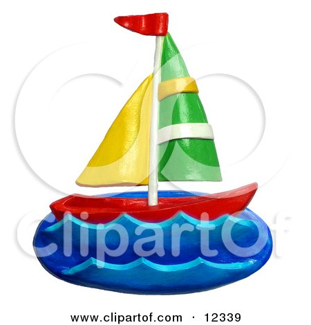 Clay Sculpture Clipart Sail Boat At Sea - Royalty Free 3d Illustration  by Amy Vangsgard