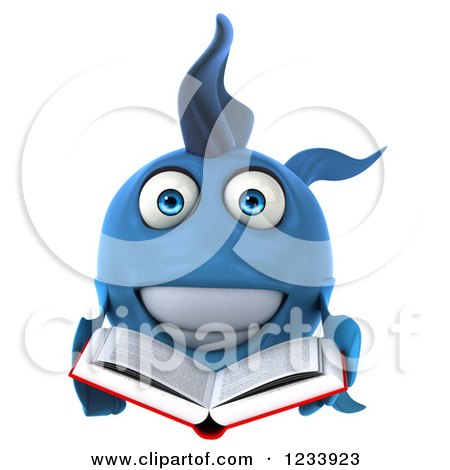 Clipart of a 3d Blue Fish Reading a Book - Royalty Free CGI Illustration by Julos