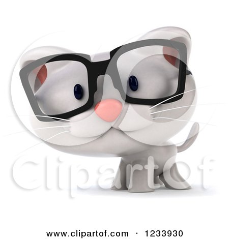 Clipart of a 3d Bespectacled White Kitten - Royalty Free CGI Illustration by Julos