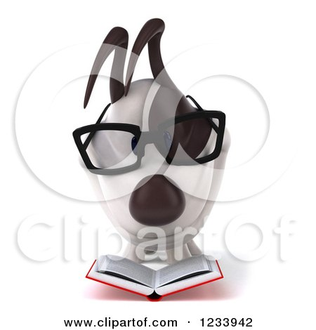 Clipart of a 3d Bespectacled Jack Russell Terrier Dog Reading 3 - Royalty Free CGI Illustration by Julos