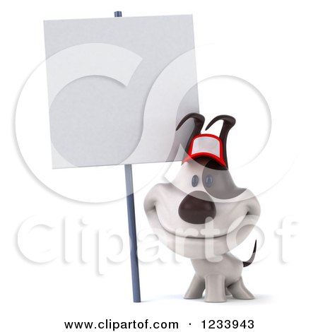 Clipart of a 3d Happy Jack Russell Terrier Dog Wearing a Baseball Cap by a Sign - Royalty Free CGI Illustration by Julos