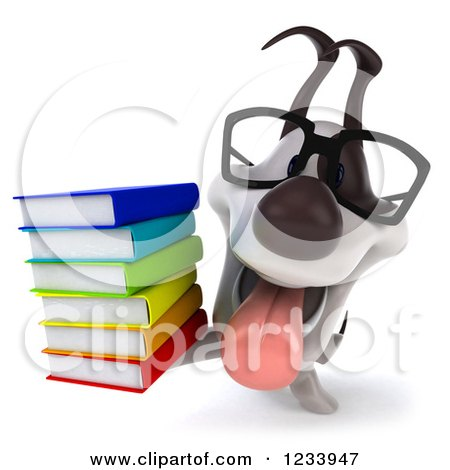 Clipart of a 3d Bespectacled Jack Russell Terrier Dog with a Stack of Books 2 - Royalty Free CGI Illustration by Julos
