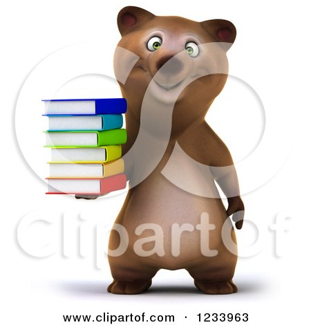 Clipart of a 3d Brown Bear Holding a Stack of Books - Royalty Free CGI Illustration by Julos