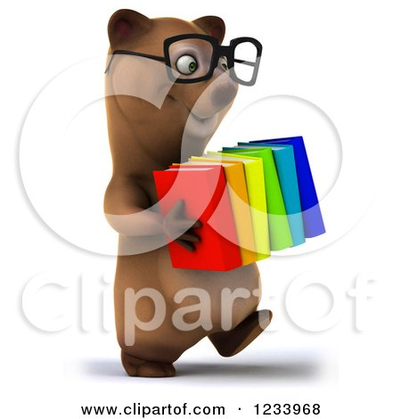 Clipart of a 3d Bespectacled Brown Bear Carrying a Stack of Books - Royalty Free CGI Illustration by Julos