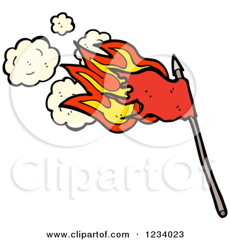 Clipart of a Flaming Red Flag - Royalty Free Vector Illustration by lineartestpilot