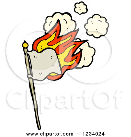 Clipart of a Flaming Beige Flag - Royalty Free Vector Illustration by lineartestpilot