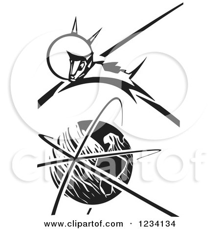 Clipart of a Woodcut Laika Space Dog Leaping over Earth, in Black and White - Royalty Free Vector Illustration by xunantunich