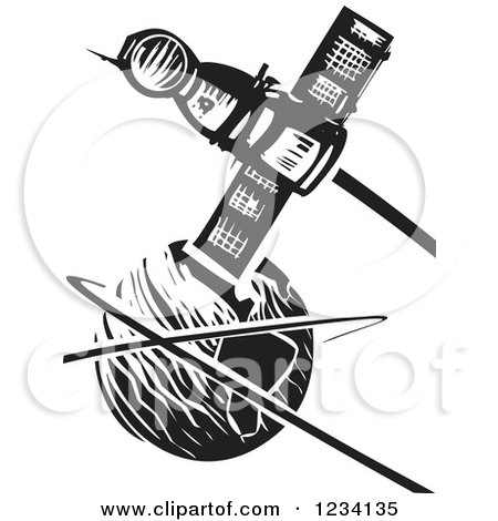Clipart of a Woodcut Soyuz Satellite over Earth, in Black and White - Royalty Free Vector Illustration by xunantunich