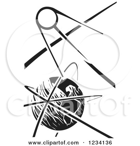 Clipart of a Woodcut Sputnik Satellite over Earth, in Black and White - Royalty Free Vector Illustration by xunantunich