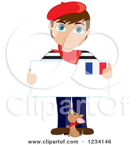 Clipart of a Dog and a Traditionally Dressed French Boy Holding an Envelope - Royalty Free Vector Illustration by Maria Bell