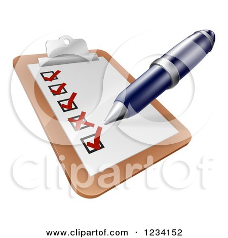 Clipart of a Pen Checking of Boxes on a Survey on a Clipboard - Royalty Free Vector Illustration by AtStockIllustration