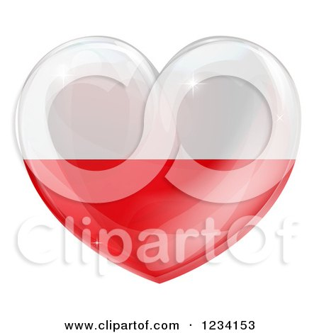 Clipart of a 3d Reflective Poland Flag Heart - Royalty Free Vector Illustration by AtStockIllustration