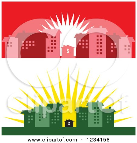 Clipart of Little Dollar Houses Surrounded by Buildings at Sunrise - Royalty Free Vector Illustration by BestVector