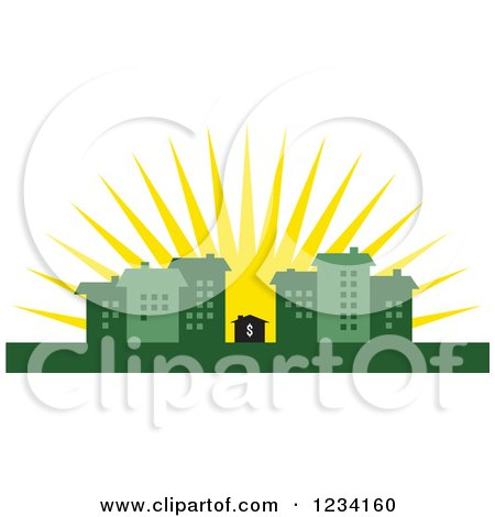 Clipart of a Little Dollar House Surrounded by Green Buildings at Sunrise - Royalty Free Vector Illustration by BestVector