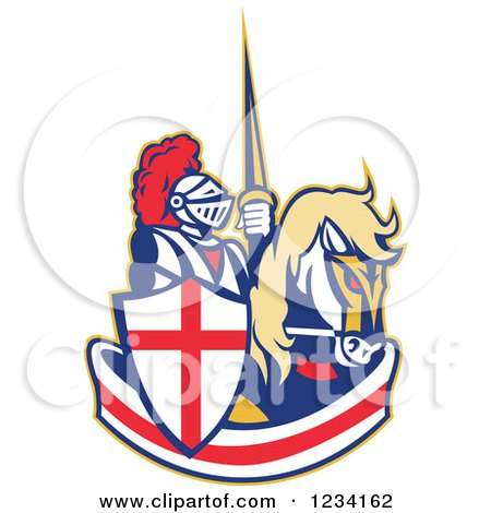 Clipart of a Horseback Jousting Knight over an English Flag Banner - Royalty Free Vector Illustration by patrimonio