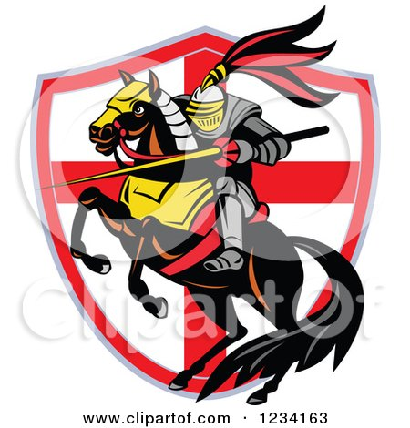 Clipart of a Horseback Knight with a Lance over an English Flag Shield - Royalty Free Vector Illustration by patrimonio