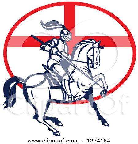 Clipart of a Horseback Jousting Knight over an English Flag Oval - Royalty Free Vector Illustration by patrimonio