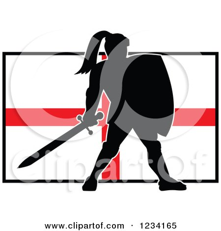Clipart of a Silhouetted Black Knight in Full Armor over an English Flag - Royalty Free Vector Illustration by patrimonio