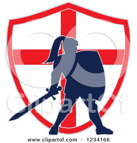 Clipart of a Silhouetted Knight in Full Armor over an English Flag Shield - Royalty Free Vector Illustration by patrimonio