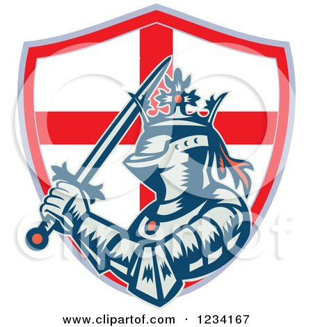 Clipart of a Knight in Full Armor, with a Sword and English Flag Shield - Royalty Free Vector Illustration by patrimonio