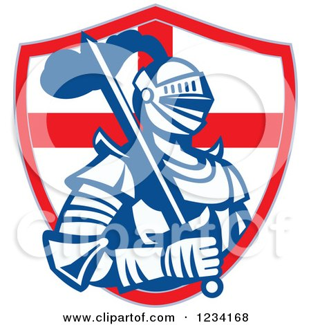 Clipart of a Knight in Full Armor, with a Sword and English Flag Shield 2 - Royalty Free Vector Illustration by patrimonio