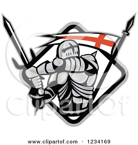 Clipart of a Knight in Full Armor, Swinging a Sword in a Diamind with an English Flag - Royalty Free Vector Illustration by patrimonio