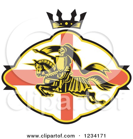 Clipart of a Horseback Jousting Knight Leaping over an English Flag Oval and Crown - Royalty Free Vector Illustration by patrimonio