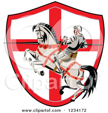 Clipart of a Horseback Jousting Knight with a Lance over an English Flag Shield - Royalty Free Vector Illustration by patrimonio