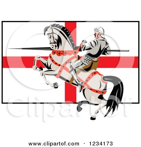 Clipart of a Horseback Jousting Knight with a Lance over an English Flag - Royalty Free Vector Illustration by patrimonio