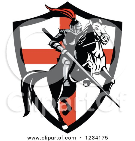 Clipart of a Horseback Knight with a Jousting Lance over an English Flag Shield - Royalty Free Vector Illustration by patrimonio