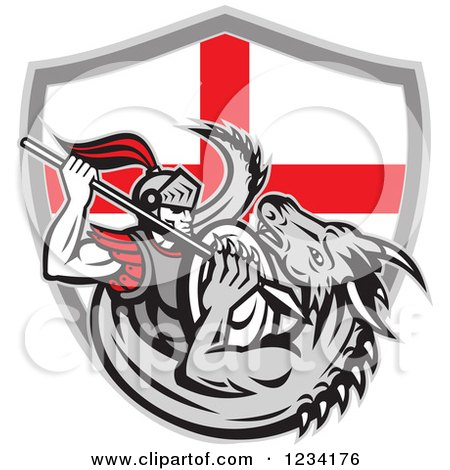 Clipart of a Knight Spearing a Dragon over an English Flag Shield - Royalty Free Vector Illustration by patrimonio