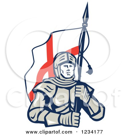 Clipart of a Knight in Full Armor, Carrying an English Flag - Royalty Free Vector Illustration by patrimonio