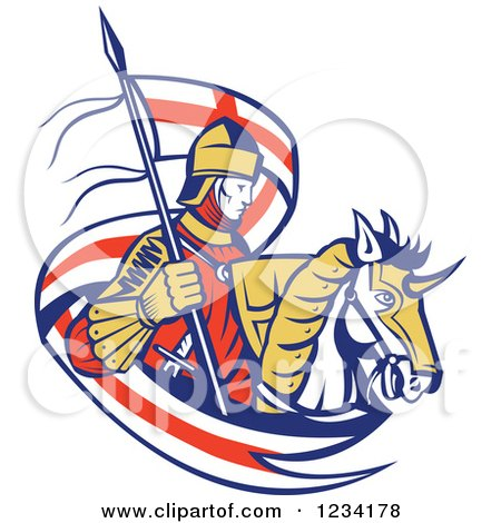 Clipart of a Horseback Knight with an English Flag Banner - Royalty Free Vector Illustration by patrimonio