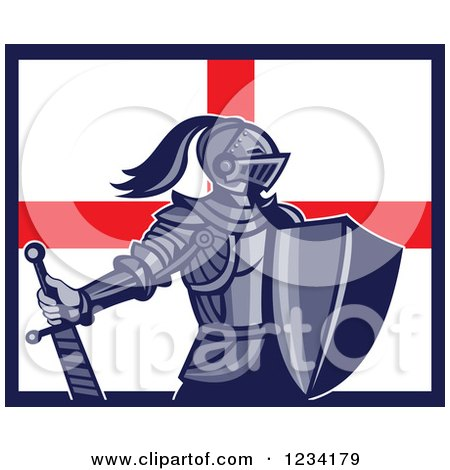 Clipart of a Knight in Full Armor over an English Flag - Royalty Free Vector Illustration by patrimonio