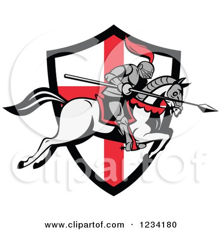 Clipart of a Horseback Jousting Knight Leaping over an English Flag Shield - Royalty Free Vector Illustration by patrimonio