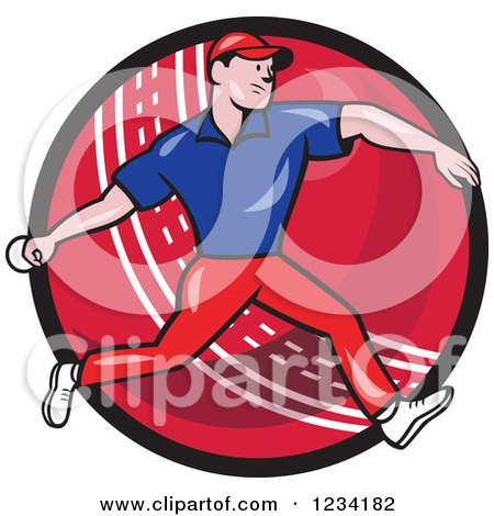 Clipart of a Cricket Bowler over a Ball 3 - Royalty Free Vector Illustration by patrimonio