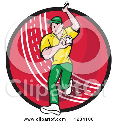 Clipart of a Cricket Bowler over a Ball - Royalty Free Vector Illustration by patrimonio