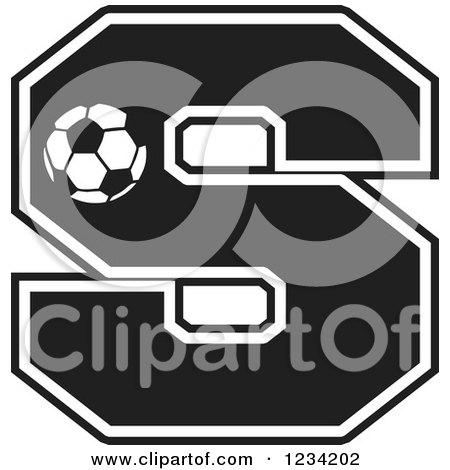 Clipart of a Black and White Soccer Letter S - Royalty Free Vector Illustration by Johnny Sajem