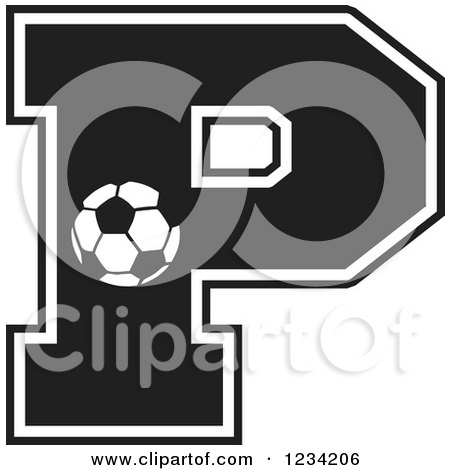 Clipart of a Black and White Soccer Letter P - Royalty Free Vector Illustration by Johnny Sajem
