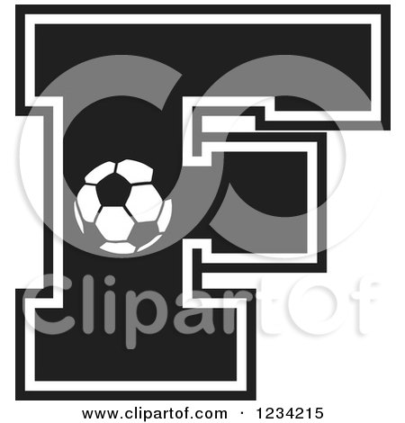 Clipart of a Black and White Soccer Letter F - Royalty Free Vector Illustration by Johnny Sajem