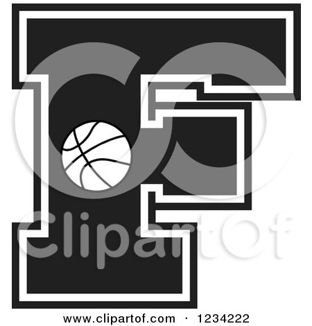 Clipart of a Black and White Basketball Letter F - Royalty Free Vector Illustration by Johnny Sajem