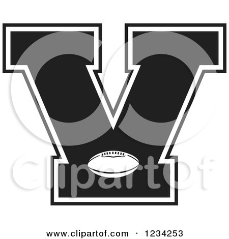 Clipart Of A Black And White Football Letter I Royalty Free Vector