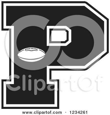 Clipart of a Black and White Football Letter P - Royalty Free Vector Illustration by Johnny Sajem